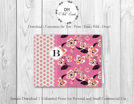 Fruit Punch - DIY Printable Monogram Note Card Template - Add Text, Print, Trim, Fold, Done! Unlimited Personal Prints. DSC.0111 by DIYNotecards on Etsy