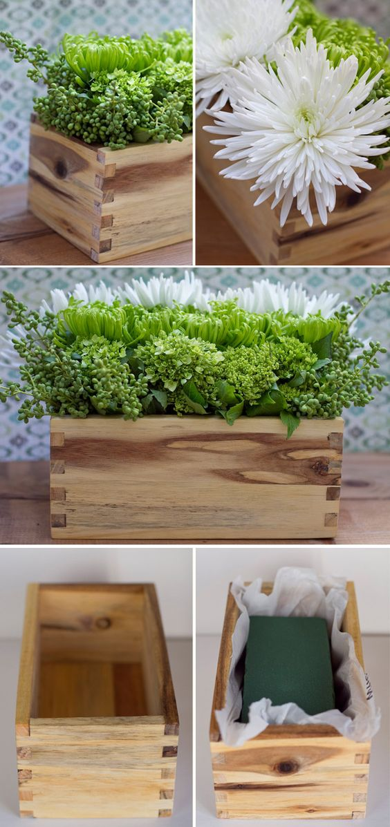 DIY - Flower Arrangement Idea using wooden box, plastic bag and floral foam. Sweet Idea, beautiful look.: