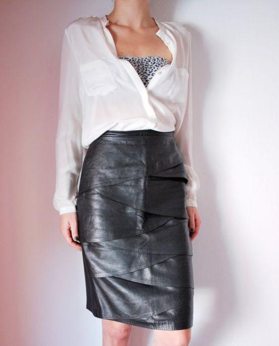 vintage layered black leather skirt