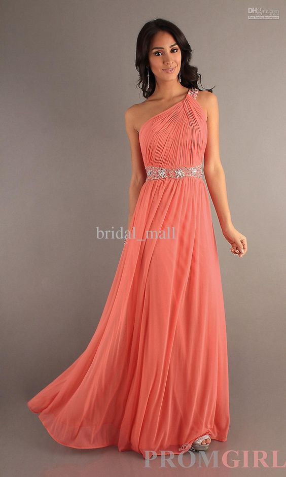 Wholesale One shoulder beadings Coral Long Homecoming dresses Pageant Formal dress Gown Evening dresses Prom AC-15, Free shipping, $102.27/Piece   DHgate