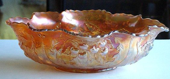 Dugan Marigold Carnival Glass Oval Berry Bowl Wreathed Cherry Pattern