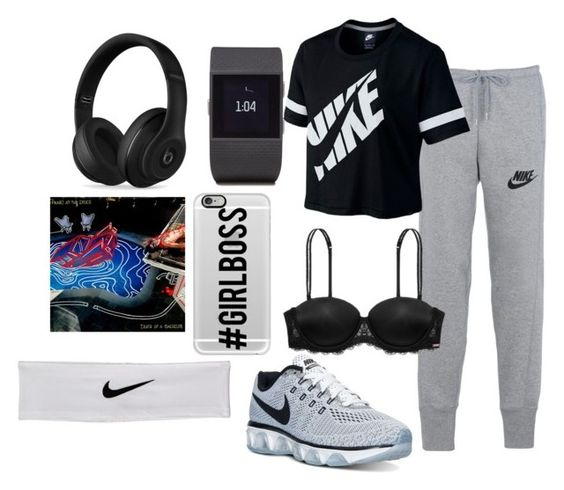 """Untitled #48"" by t-harrelson on Polyvore featuring NIKE, Victoria's Secret PINK, Fitbit, Casetify and Beats by Dr. Dre"