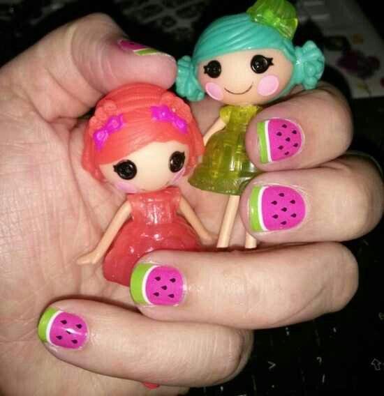 Little Girl Nail Design Ideas this nail art is for little dark skin girls as this nail color suits them Watermelon Nails Nailart For Little Girls