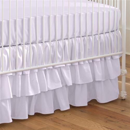 Solid Lilac Crib Skirt Three Tier Pink Crib Floral Crib Bedding White Crib Skirt