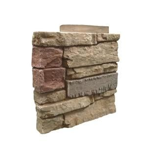 Genstone Stacked Stone Desert Sunrise 12 In X 1 375 In X 12 In Faux Stone Siding Left Corner Panel G2ssdscpl The Home Depot In 2020 Faux Stone Siding Stone Siding Panels Faux Stone Veneer