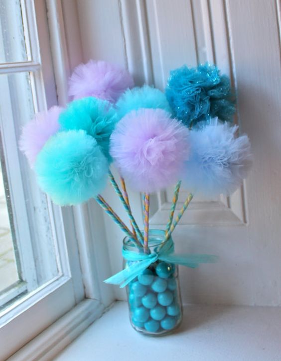 Ocean Centerpiece Ideas : Mermaid birthday tulle pom wands party favors under