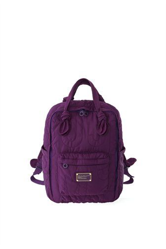 """A classic Marc by Marc Jacobs style, the Pretty Nylon Knapsack is a great school or over-the-weekend bag. The Knapsack has logo lined interior, a front zipper pocket, adjustable shoulder straps for support, and our signature logo plaque detailing. 100% Nylon. 10.75"""" x 6"""" x 15.75"""""""
