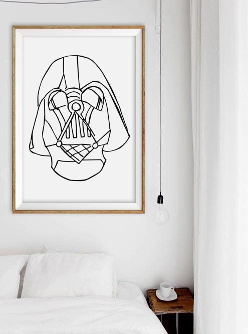 White Star Wall Decor : Modern minimalist star wars poster black and white