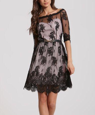 Look what I found on #zulily! Black & Pink Bardot Three-Quarter Sleeve Dress #zulilyfinds