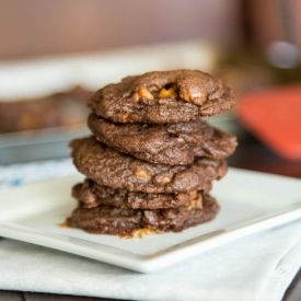 Thick and soft Chocolate Pudding Rolo Cookies.