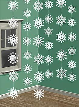 Our Snowflake Ceiling Danglers will add a winter feel with there shimmery white design. Each snowflake danglers are made of plastic and are on 7 foot strand for easy decorating. 4/6