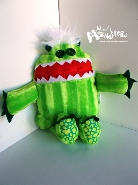 Cuddle Monster Pillow MELON zipper mouth by MostlyMonstersCV, $27.95