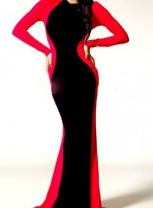 Red/Black Goddess Glam Long Sleeve Maxi Dress,  Dress, maxi dress  long dress  red cocktail, Chic
