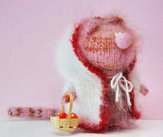 MADAME CAT  AMIGURUMI Cat  Pink Striped Cat in by MiracleStoreUS