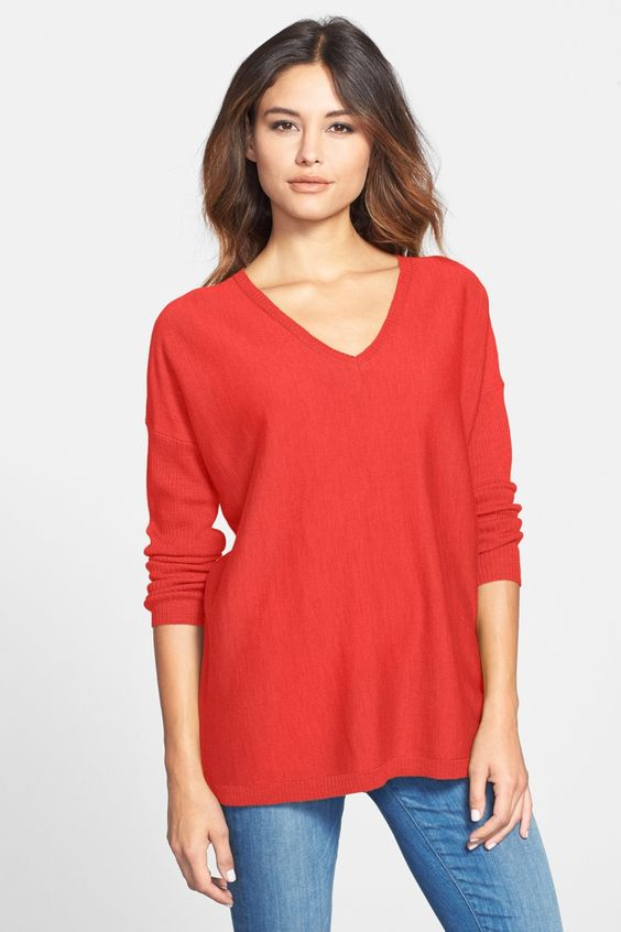 Ribbed Sleeve Merino V-Neck Tunic (Petite) by Eileen Fisher on @nordstrom_rack