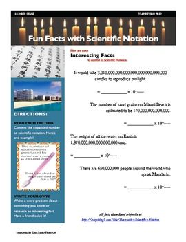 Here's a page where students read interesting facts accompanied by numbers in standard form and then must convert the numbers into scientific notation.