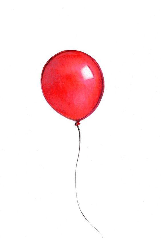 Red Balloon Print: Digital print of an original by marybethleonard