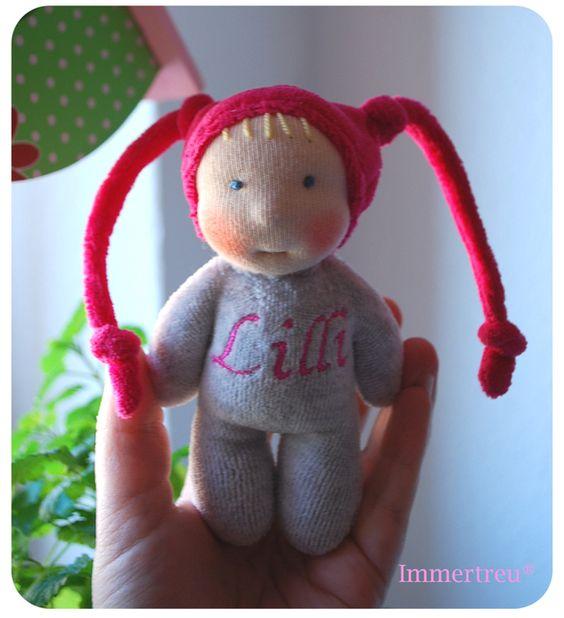Puppen - Mini kunterbunt auf Wunsch Stoffpuppe Namenszug - ein Designerstück von Immertreu bei DaWanda