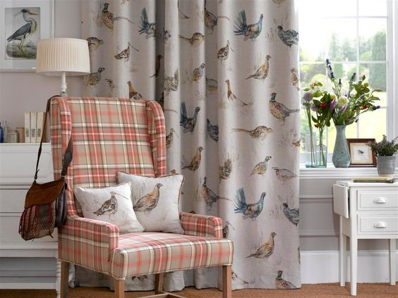 Kitchen Curtains bird kitchen curtains : This is the Game Birds fabric. I think it would be lovely for the ...