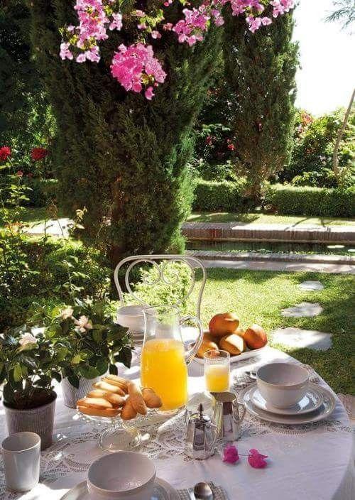 Petit Dejeuner Au Jardin Desayuno De Hotel Comida Y Vino