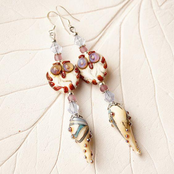 Ivory owl lampwork earrings boho earrings ethnic by KatyaGlass