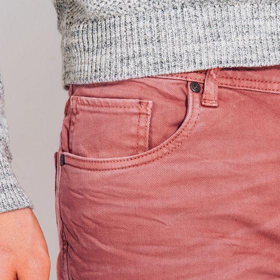 Jean slim couleur lavé Rose Moyen Homme - Jules