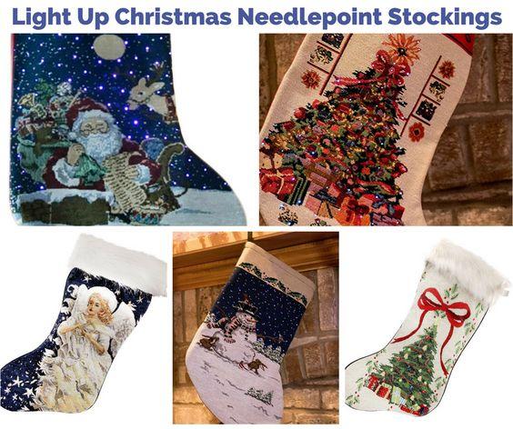 Christmas Light Up Needlepoint Stockings