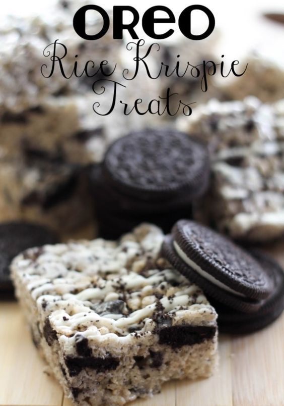 ingredients are 6 cups Rice Krispy Cereal, 20 Regular Oreos chopped, 5 cups mini marshmallows, 3 Tbsp. butter, white chocolate for drizzle. Mmm delicious!