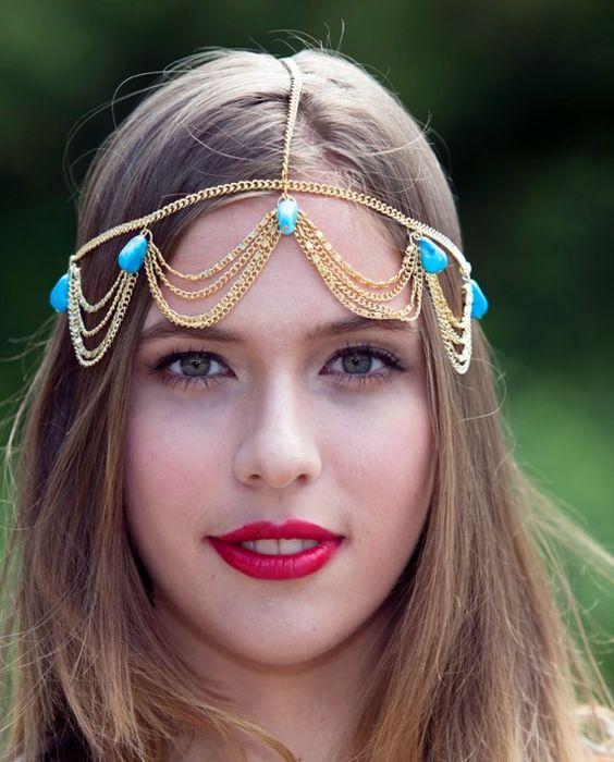 Agate Fringe Goddess Chain Headwrap $26