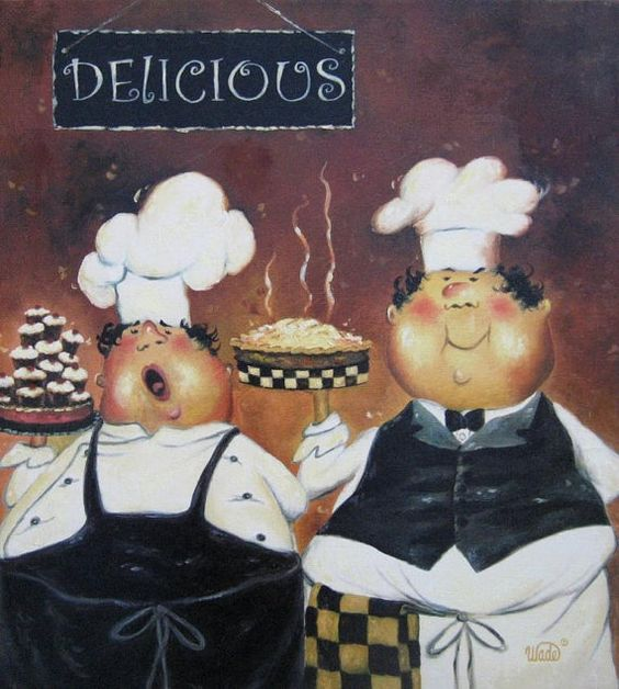 Two Fat Chefs Art Print fat chef paintings wall art pastry chefs desserts pies kitchen wall decor art, Vickie Wade art