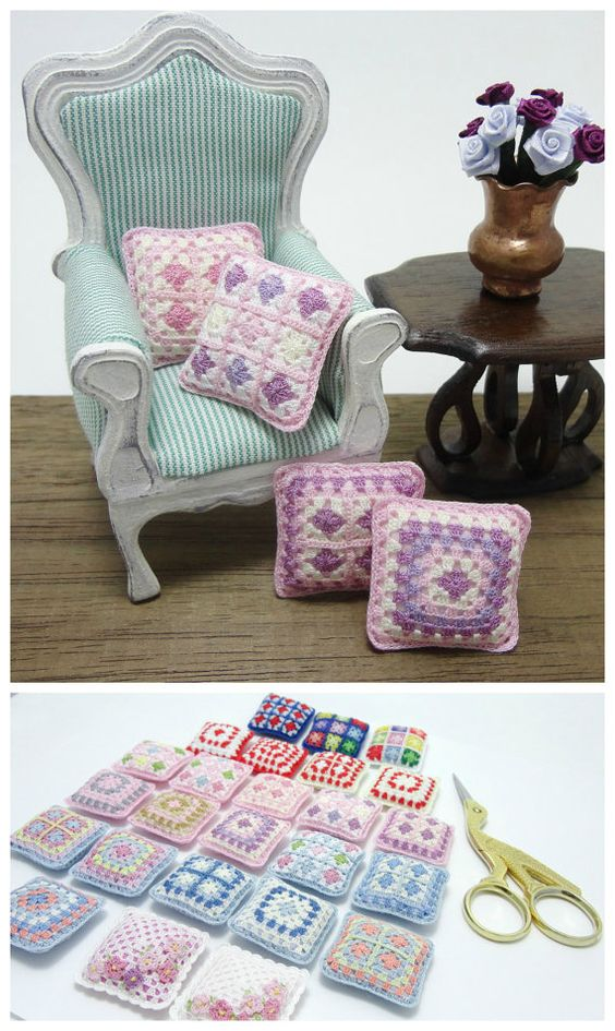 Dollhouse miniature crochet pillow for dollhouse scale by MiniGio