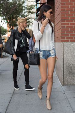 """jennergallery: """" """"August 5th: Kendall Jenner out shopping with Hailey Baldwin in New York City 
