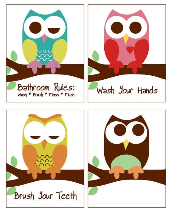 owl bathroom decor, kid's bathroom art, bathroom rules, owl prints