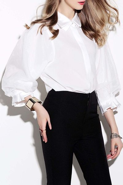 Weiguoyue White Pure Color Puff Sleeve Blouse | Blouses at DEZZAL