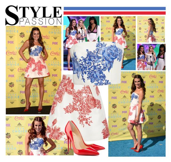 """2015 Teen Choice Awards~ Lea Michele"" by snugget9530 ❤ liked on Polyvore featuring Monique Lhuillier and Christian Louboutin"