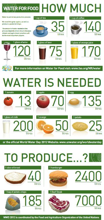 How much water is need to produce different food products