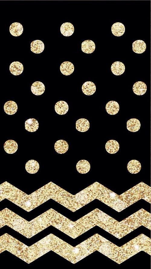 Black wallpaper with gold sparkly polka dots and chevron ...