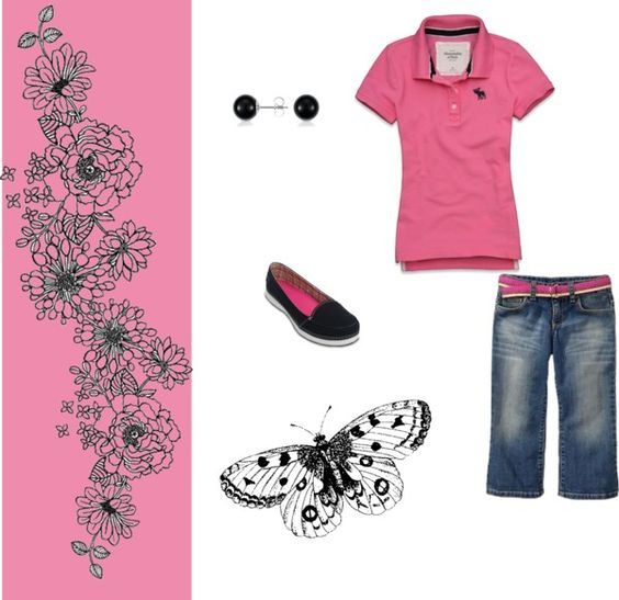 pink leaf, created by cristina1207 on Polyvore