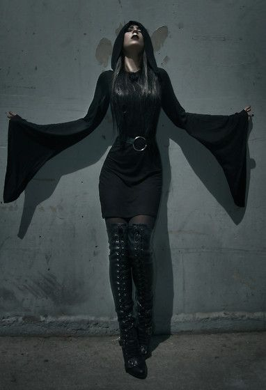 Ashley Joncas - Kill Star Witch Hooded Dress, Guess? Lace Up Boots - Breath of Life: