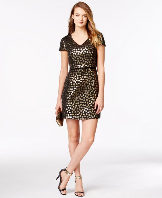 kensie Metallic Polka-Dot Layered Dress - Late-Breaking Specials - Women - Macy's
