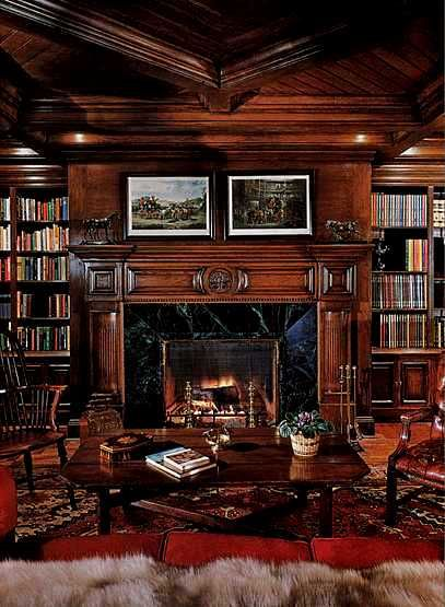Wood Paneled Den: Classic Dark Paneled Library....would Just Add Cozy Club
