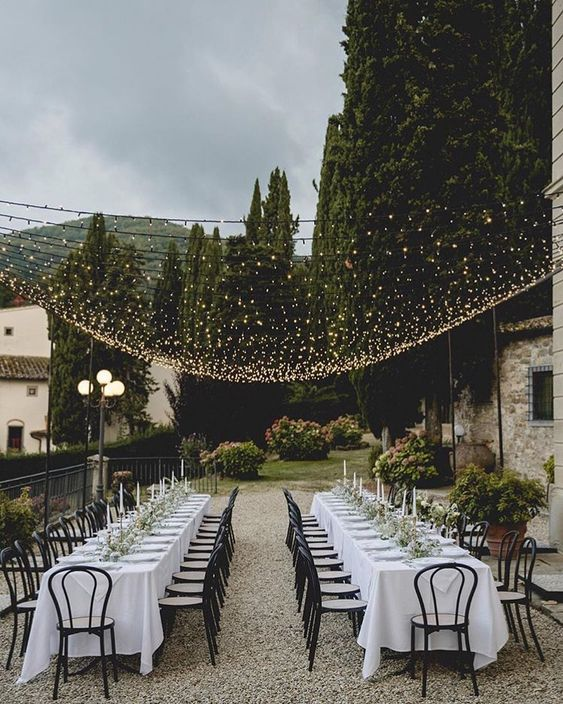 Martha Stewart on Instagram: â??Hosting an outdoor wedding this spring? â??ï¸? Treat your wedding guests to a reception under a canopy of twinkle lights. â?¨ The result? Aâ?¦â??