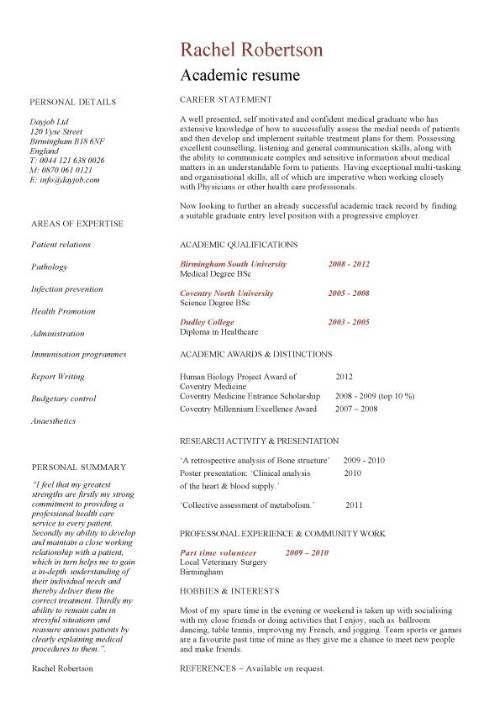 Academic Cv Templates Word Word Excel Fomats Academic Cv
