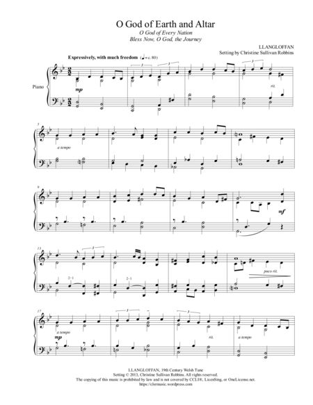 O God of Earth and Altar (O God of Every Nation or Bless Now, O God, the Journey). An easy to learn piano sheet music arrangement of the Welsh tune Llangloffan - ideal for the more serious moments in church worship services. The somber style makes it especially perfect for Lent.