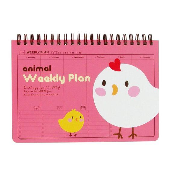 Animal - Weekly Planner - Soft Pink Hen