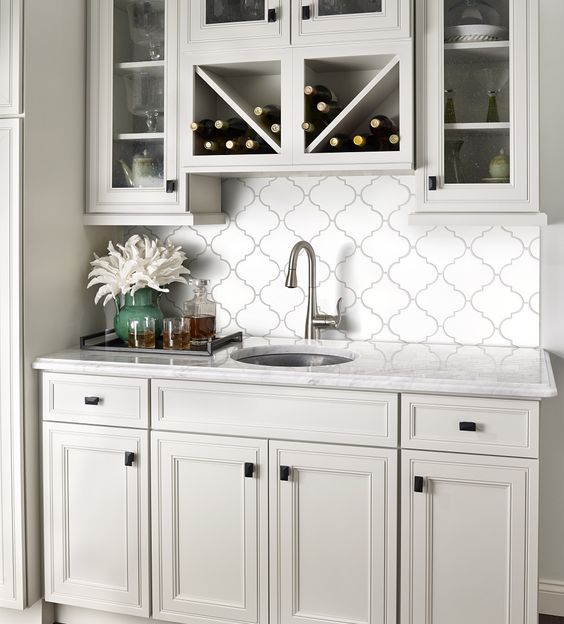 Arabesque Tiles Kitchen Wall: Arabesque/lantern Tile. Purchased From Home Depot Along