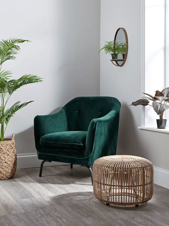 NEW Forest Green Velvet Occasional Chair - Luxury Chairs - Luxury Seating - Luxury Home Furniture