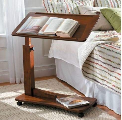 Adjustable Bedside Table With Wheels Made Of Wood Walnut Bed Tray Table At Home Furniture Store Furniture