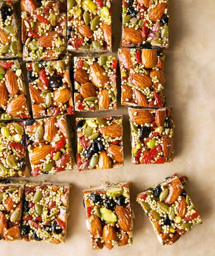 These are everything an energy bar should be: packed to the brim with nuts, seeds, and dried fruit. Almonds are filled with heart-healthy fats, quinoa is an excellent source of protein, goji berries are loaded with antioxidants—and those are just a few of the nutrient-packed ingredients you'll find inside.
