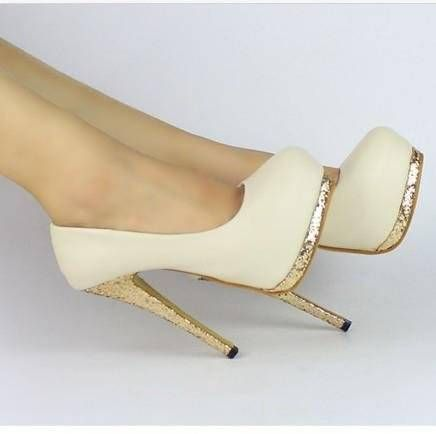 Details about New Sexy Women Bling Platform Apricot Black Club ...